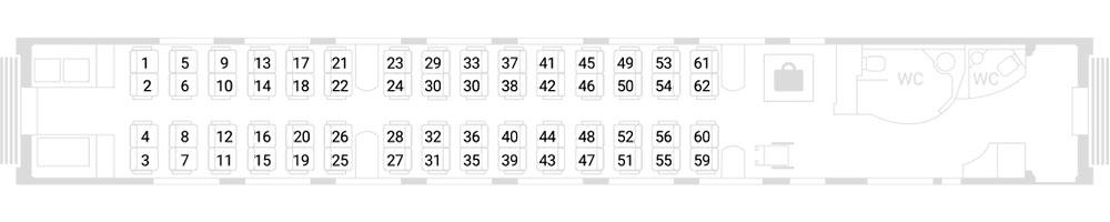Схема вагона эконом-класса с местами для инвалидов (№ 6)